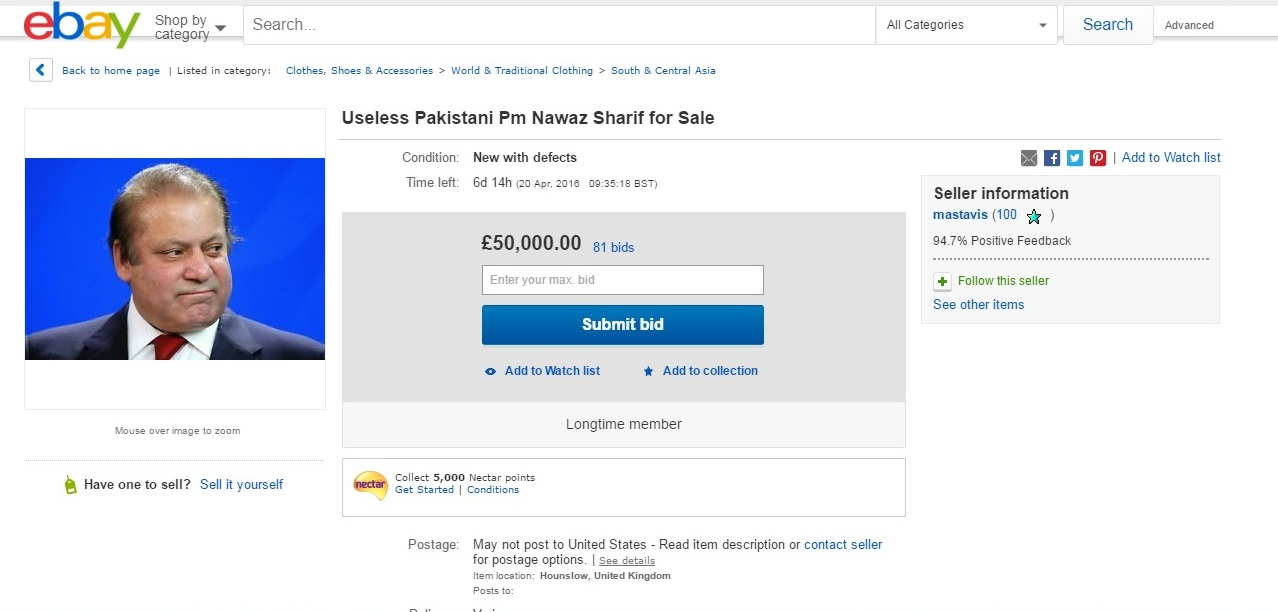 Hilarious: Someone Put Pak PM Nawaz Sharif On eBay For Rs 62 Lakhs, You Can Bid Too