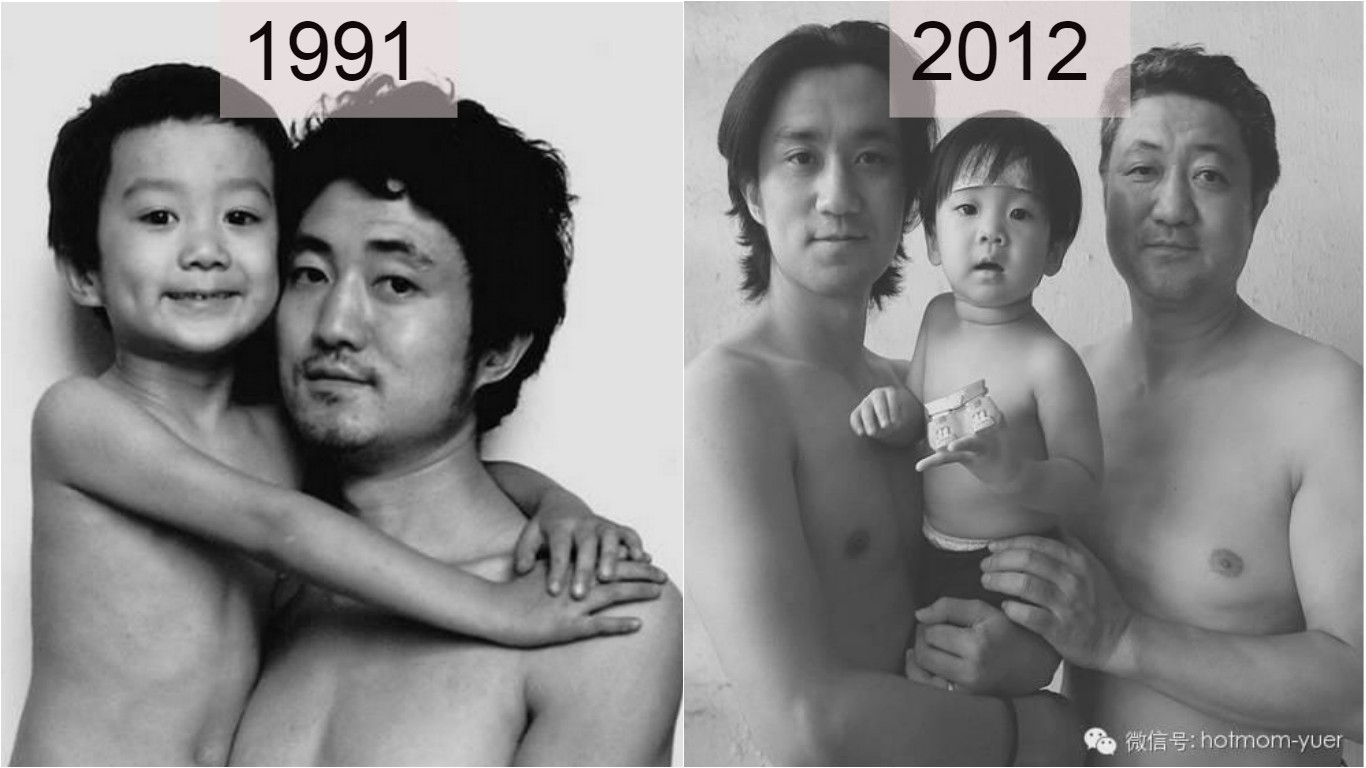 Touching Photo Series Of A Father And Son Who Pose For The Same Photo For 26 Years