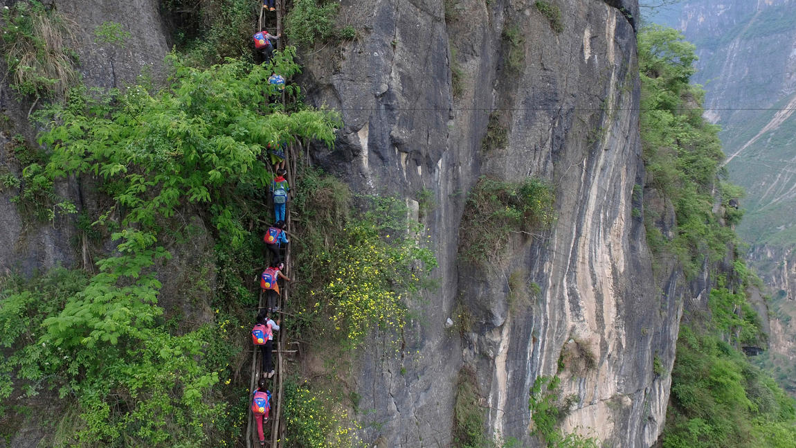 School Run Gone Scary: In This Village, Kids Climb 2,500 Foot Ladder To Get Education